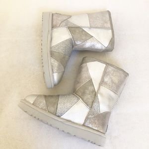 UGG silver and grey combo short boot size 6 NWT
